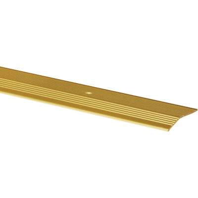 M-D Satin Brass Fluted 2 In. x 6 Ft. Aluminum Carpet Trim Bar, Extra Wide