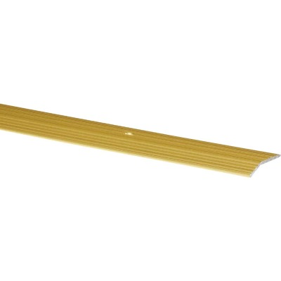 M-D Satin Brass Fluted 1-3/8 In. x 6 Ft. Aluminum Carpet Trim Bar, Wide