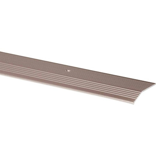 M-D Pewter Fluted 2 In. x 6 Ft. Aluminum Carpet Trim Bar, Extra Wide