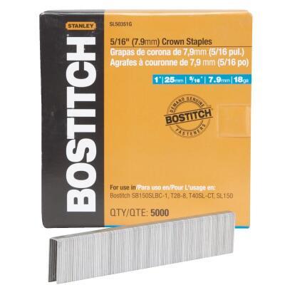 Bostitch 18-Gauge 5/16 In. x 1 In. Pneumatic Cap Staples (5000 Ct.)