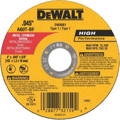DeWalt HP Type 1, 4 In. Cut-Off Wheel