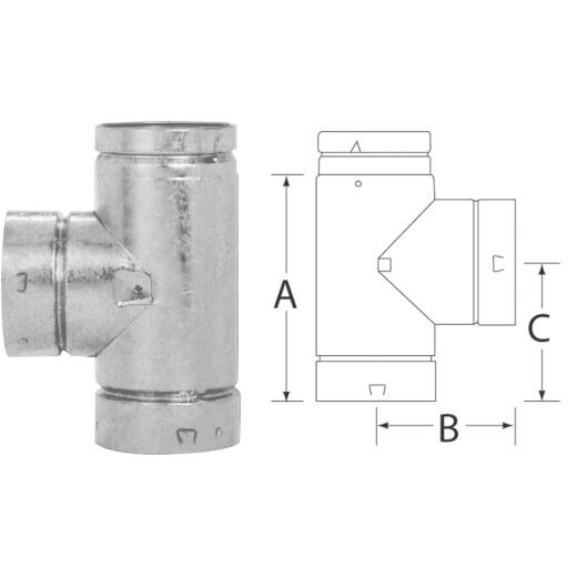 SELKIRK RV 4 In. x 8-1/2 In. x 4-3/4 In. Gas Vent Tee