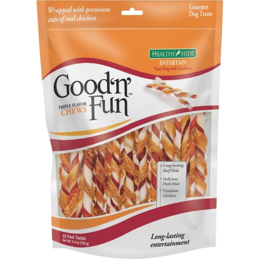 Healthy Hide Good 'n Fun Triple Flavor Twists Pork, Beef, & Chicken Chew (22-Pack)